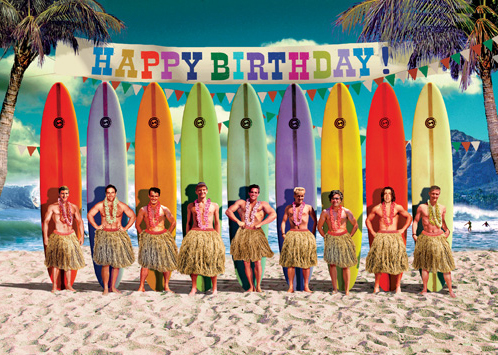 Happy Birthday Surfers Greeting Card By Max Hernn