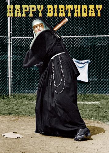 Lip international vintage retro greeting cards happy birthday baseball nun greeting card by max hernn m4hsunfo
