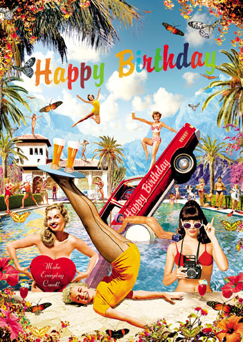 Happy Birthday Pool Party Greeting Card By Max Hernn