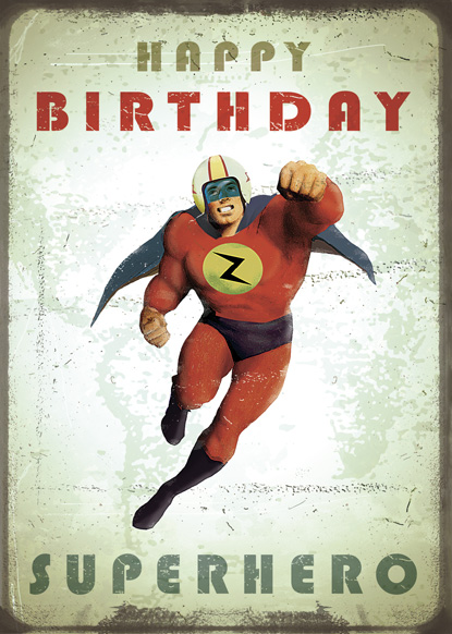 Happy Birthday Superhero Greeting Card By Max Hernn