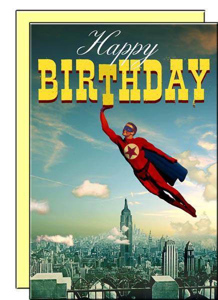Happy Birthday Superhero Man Pack Of 8 Postcards With Envelopes