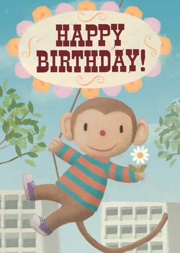 Lip international vintage retro greeting cards happy birthday swinging monkey greeting card by stephen mackey m4hsunfo