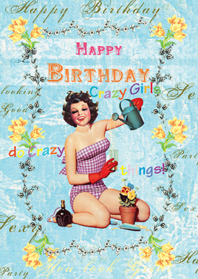 Lip international vintage retro greeting cards happy birthday crazy girl greeting card m4hsunfo