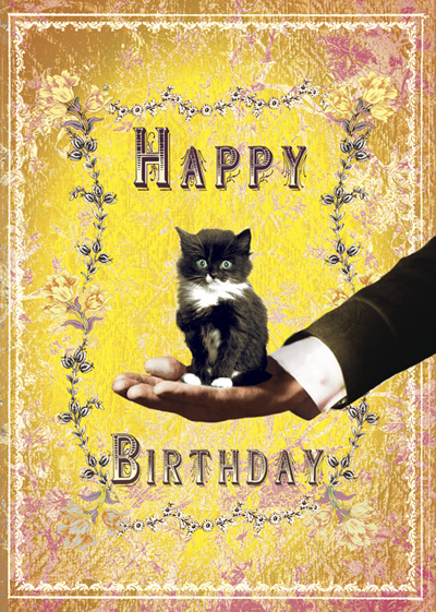 Lip international vintage retro greeting cards happy birthday kitten greeting card m4hsunfo Images