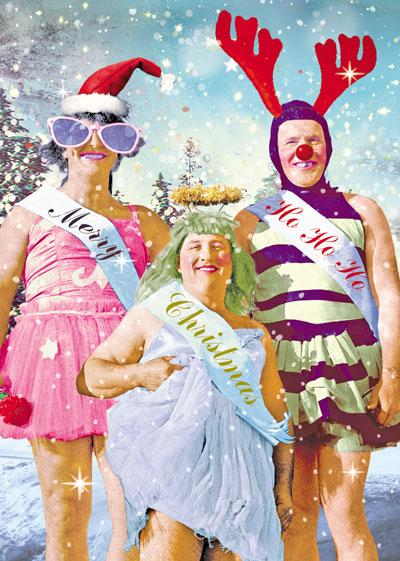 HoHoHo Drag Queens Christmas Greeting Card By Max Hernn