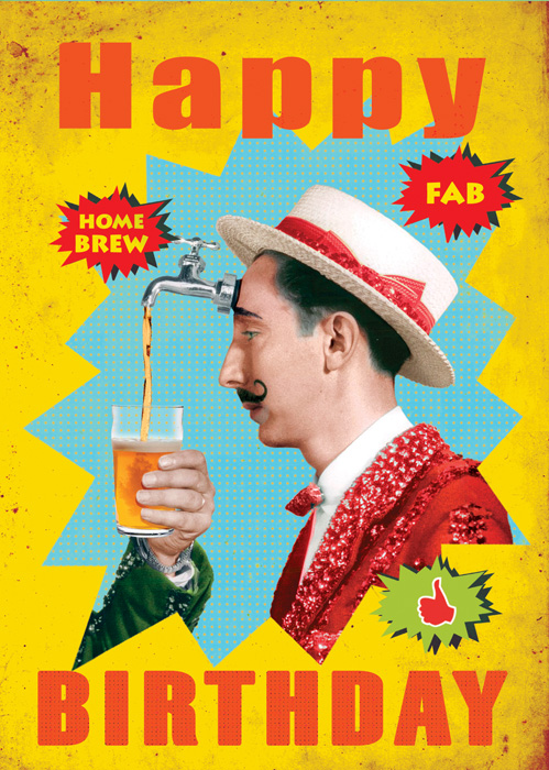 Happy Birthday Pouring Beer Greeting Card By Max Hernn