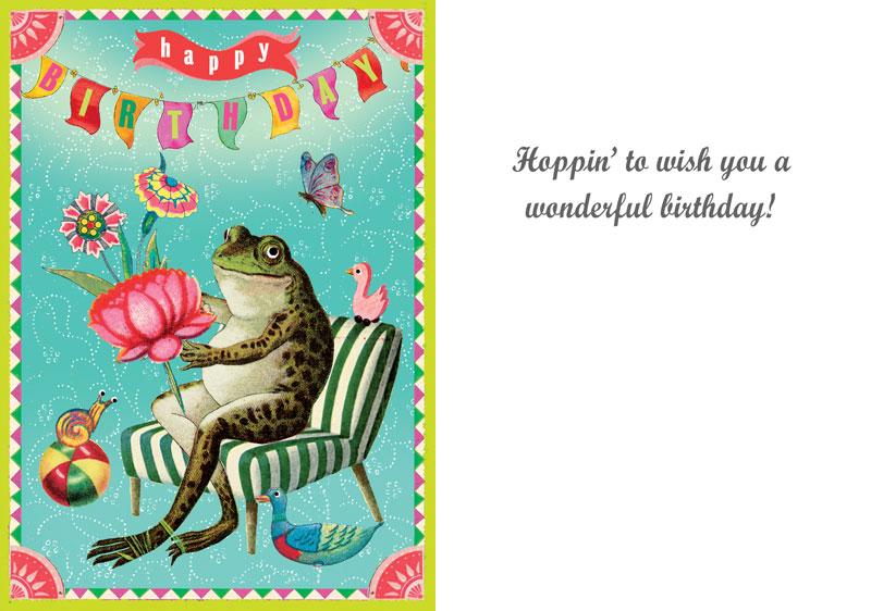 Lip international vintage retro greeting cards hoppin to wish you a wonderful birthday frog greeting card m4hsunfo