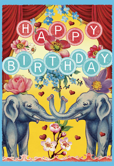 Happy Birthday Elephants Greeting Card